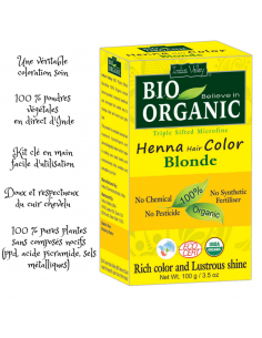 Coloration Végétale Cheveux Bio Blond henné 100 g - Bio Organic Indus Valley Colorations Cheveux Naturelle
