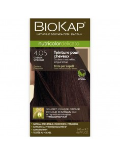 Biokap coloration bio chatain chocolat 4.05 Nutricolor Delicato BioKap coloration bio , spray retouches et shampoings