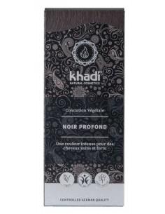 Khadi noir profond coloration et soin intense des cheveux 100 g Khadi