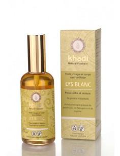 Khadi huile ayurvédique lys blanc peaux matures et sèches 100 ml Khadi Huiles Végétales et Sérums