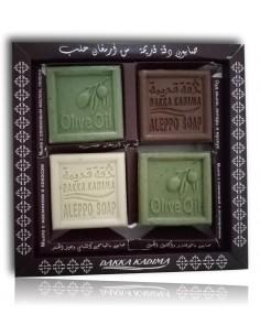 Coffret 4 savons d'Alep olive-musc-lavande-jasmin